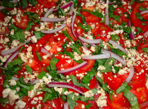 Tomato Slices with Basil & Cheese