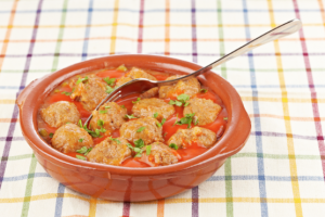 Italian Meatballs with Roasted Red Pepper & Macadamia Sauce